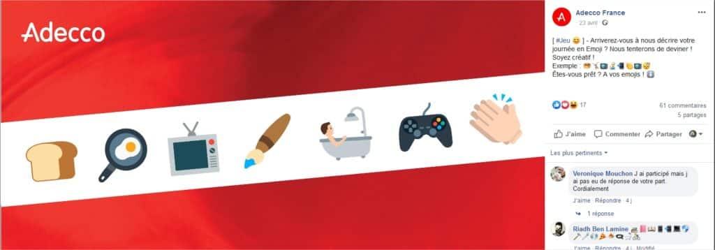 Adecco demande sur Facebook aux confinés de décrire leurs journées avec des emoticones.