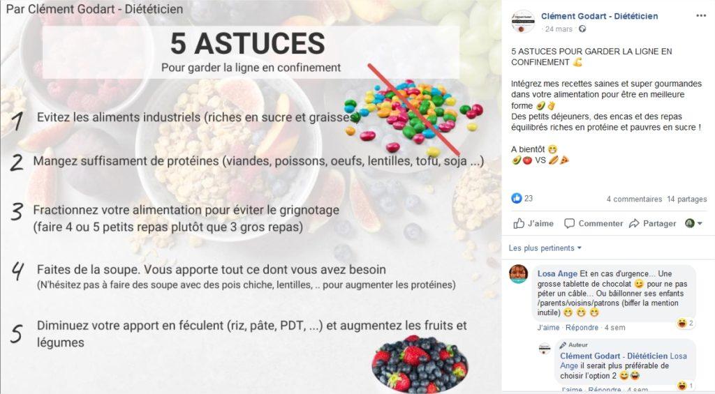 Exemple du diététicien Clément Godart qui propose des conseils de nutrition durant le confinement.
