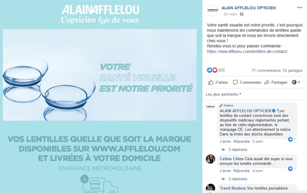 Exemple de publication Facebook de Alain Afflelou proposant un nouveau service : la livraison de lentilles.