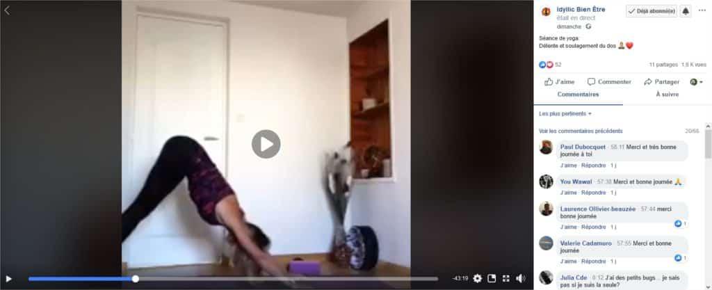 Exemple de publication en vidéo Live sur Facebook de Idyllic Bien ëtre proposant des cours de yoga.